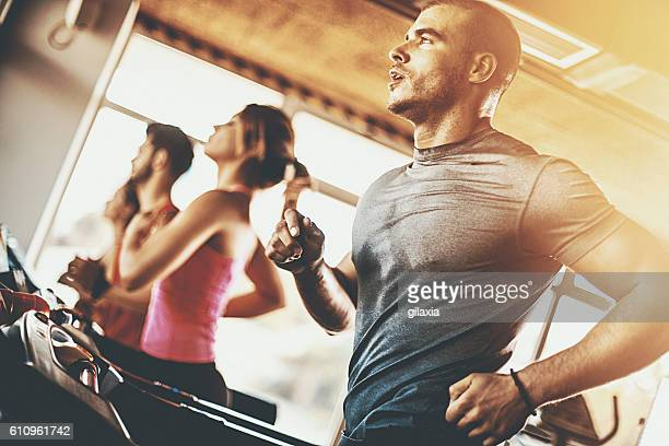 treadmill workout. - sports clothing stock pictures, royalty-free photos & images