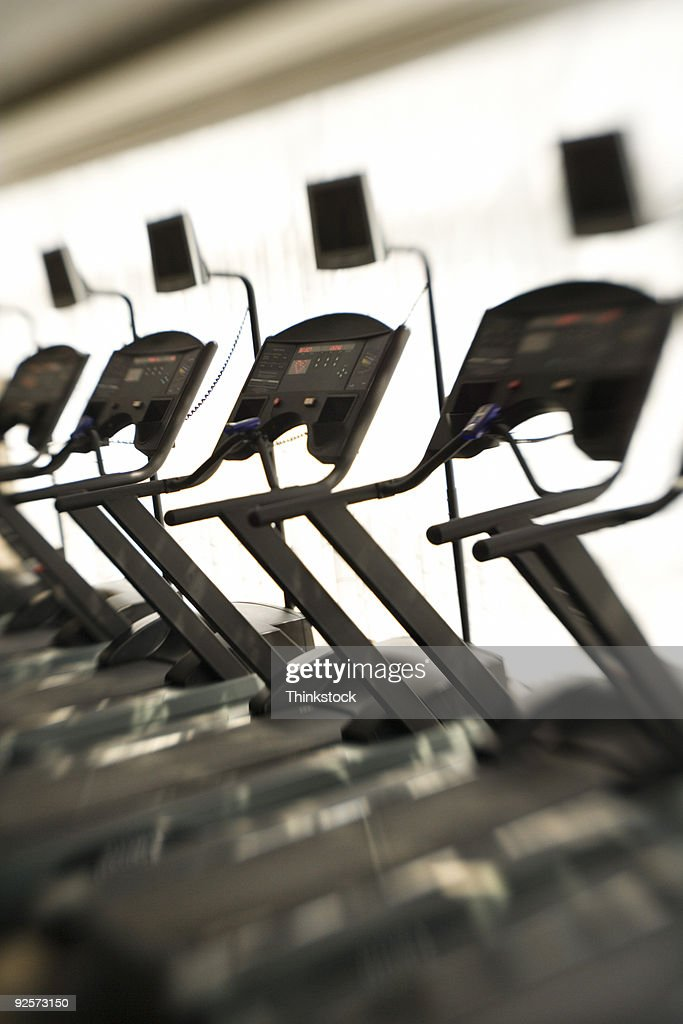 Treadmills in gym : Stock Photo
