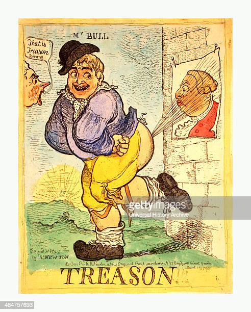 Treason Newton Richard 1777 1798 Artist London R Newton A Stout Smiling John Bull Directs A Blast From His Rearend Toward A Poster Of King George Iii...