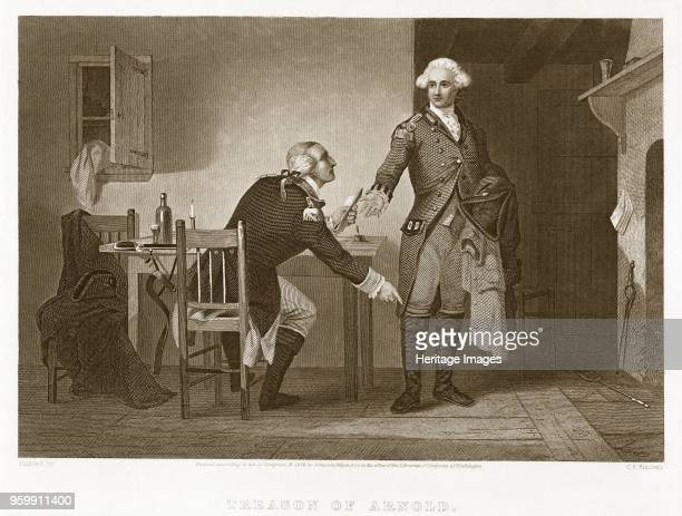 Treason of Arnold pub 1874 engraving Benedict Arnold 1741 1801 John Andre 1750 1780 shows Arnold persuading Andre to conceal papers in his boot