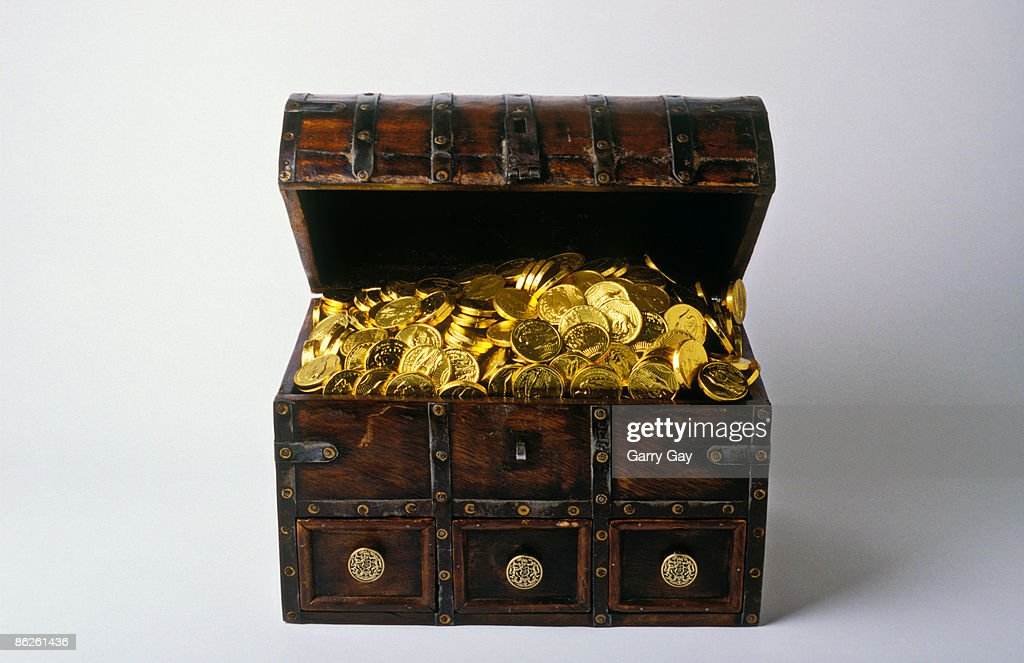 Treasure chest on white background : Stock Photo