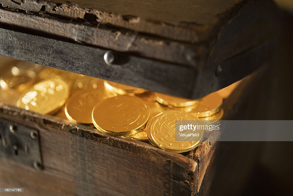 Treasure Chest with Gold Coins Close-Up : Stock Photo