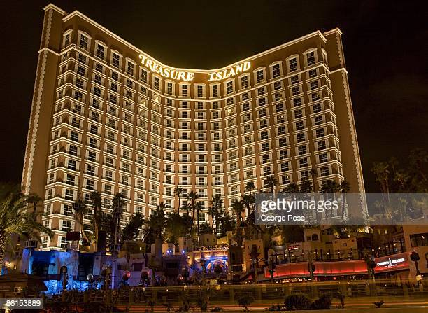 Treasure Island Hotel is seen from ground level on the Las Vegas Strip in this 2009 Las Vegas Nevada night time exterior photo