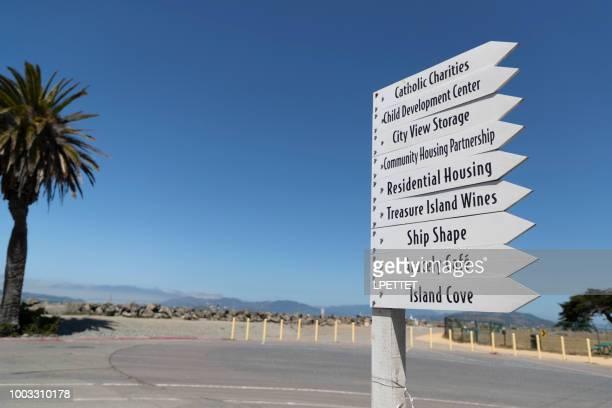 treasure island sign - san francisco california. - treasure island california stock pictures, royalty-free photos & images