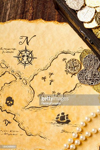 Treasure Map and Chest. Full Frame, Vertical. XXXL