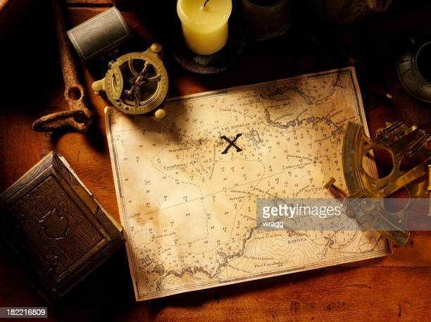 Treasure Map and Nautical Equipment