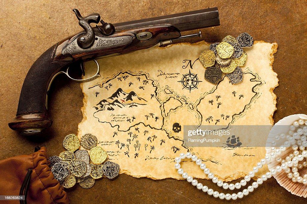 Treasure Map and Pistol. Full Frame. XXXL : Stock Photo