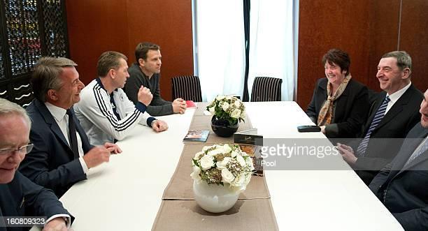 DFB Treasurer Horst R Schmidt DFB President Wolfgang Niersbach goalkeeping coach Andreas Koepke Team Manager Oliver Bierhoff meet with David Nivel...