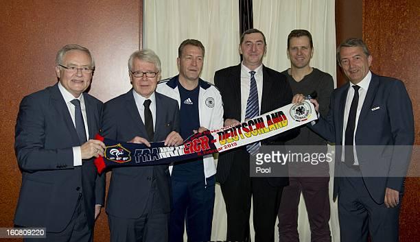 DFB Treasurer Horst R Schmidt League President Dr Reinhard Rauball goalkeeping coach Andreas Koepke David Nivel Team Manager Oliver Bierhoff and DFB...