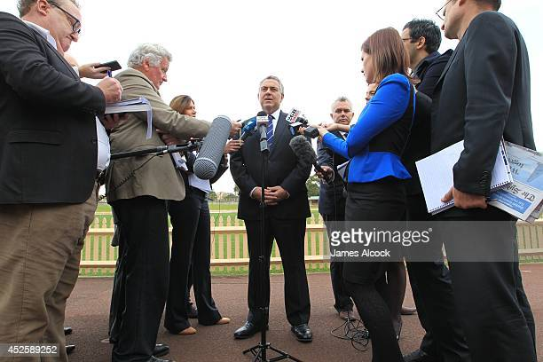 Treasurer Joe Hockey addresses the media following the launch of his biography at North Sydney Oval on July 24 2014 in Sydney Australia The biography...