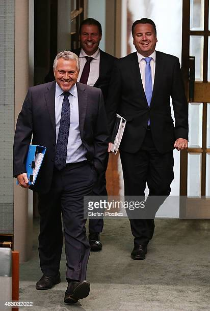Treasurer Joe Hockey arrives at House of Representatives question time at Parliament House on February 9 2015 in Canberra Australia Tony Abbott...