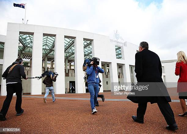 Treasurer Joe Hockey arrives at Parliament House on May 12 2015 in Canberra Australia The Coalition government will tonight deliver the 2015 federal...