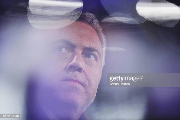 Treasurer Joe Hockey delivers his midyear budget at National Press Club on December 17 2013 in Canberra Australia The Coalition's midyear Budget...