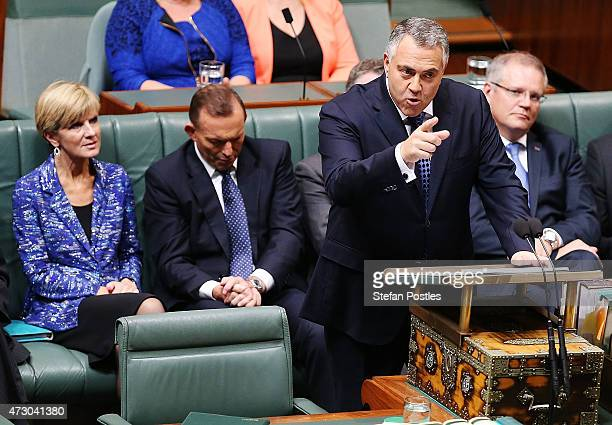 Treasurer Joe Hockey delivers the budget in the House of Representatives in Parliament House on May 12, 2015 in Canberra, Australia. The Coalition...