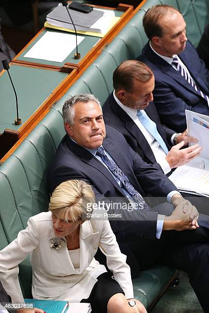 Treasurer Joe Hockey during House of Representatives question time at Parliament House on February 9 2015 in Canberra Australia Tony Abbott remains...