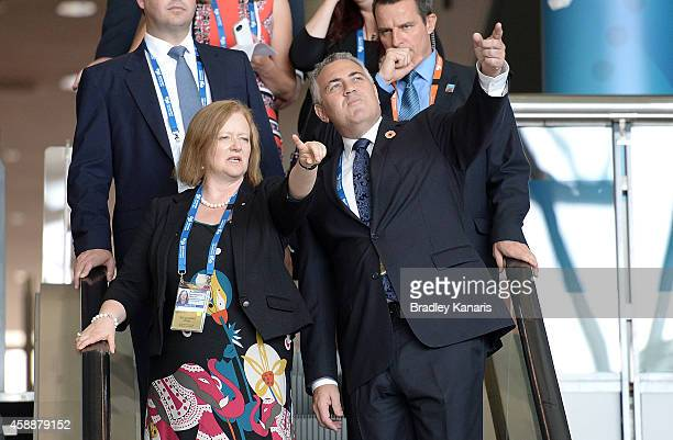 Treasurer Joe Hockey is shown through the host venue the Brisbane Convention Exhibition Centre by the head of G20 operations Bernadette Welch during...