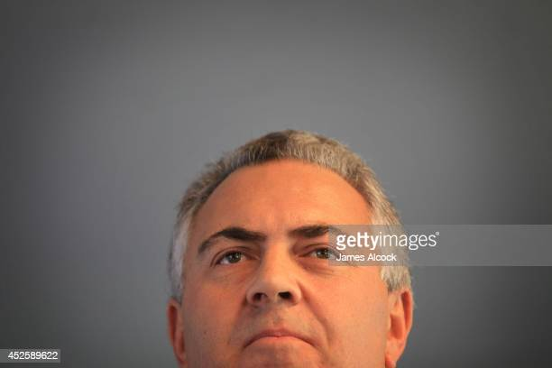 Treasurer Joe Hockey launches his biography at North Sydney Oval on July 24 2014 in Sydney Australia The biography authored by Madonna King names Joe...