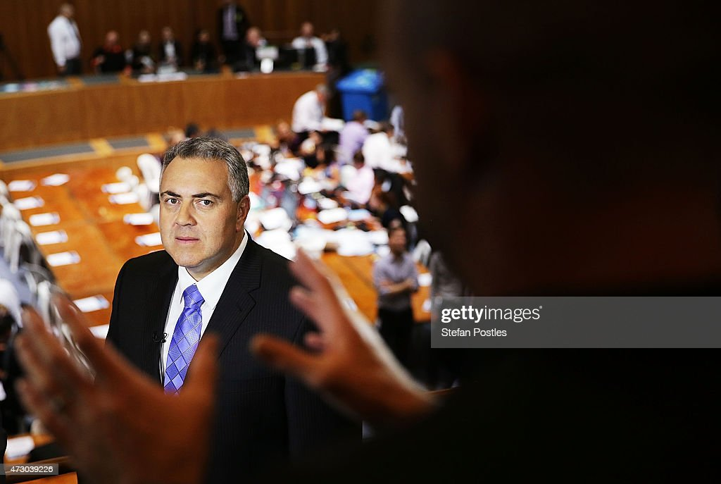 Treasurer Joe Hockey prepares for a TV interview during the Budget lock-up at Parliament House on May 12, 2015 in Canberra, Australia. The Coalition government will tonight deliver the 2015 federal budget expected to announce changes to the childcare package, and the aged pension as well reveal cuts to small businesses and the public service.