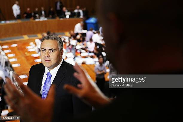 Treasurer Joe Hockey prepares for a TV interview during the Budget lockup at Parliament House on May 12 2015 in Canberra Australia The Coalition...