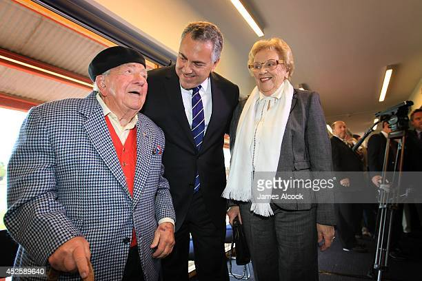 Treasurer Joe Hockey smiles with his parents at the launch of his biography at North Sydney Oval on July 24 2014 in Sydney Australia The biography...