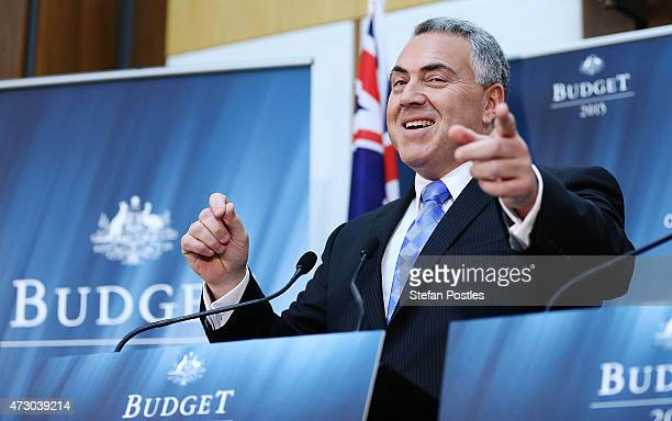 Treasurer Joe Hockey speaks during a press conference within the Budget lockup in Parliament House on May 12 2015 in Canberra Australia The Coalition...