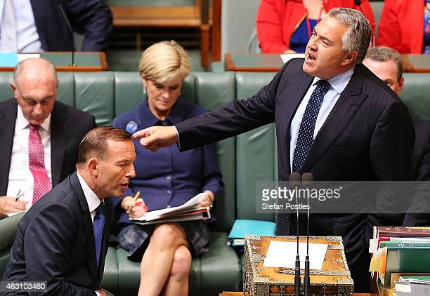 Treasurer Joe Hockey speaks during House of Representatives question time at Parliament House on February 10 2015 in Canberra Australia A Liberal...