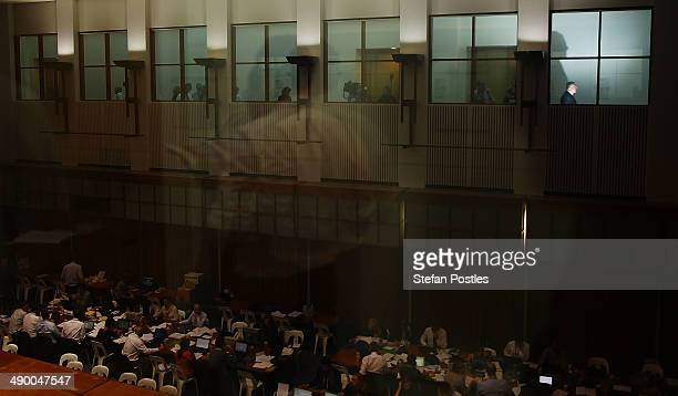 Treasurer Joe Hockey visits with members of the media within the budget lockup at Parliament House on May 13 2014 in Canberra Australia Tony Abbott's...