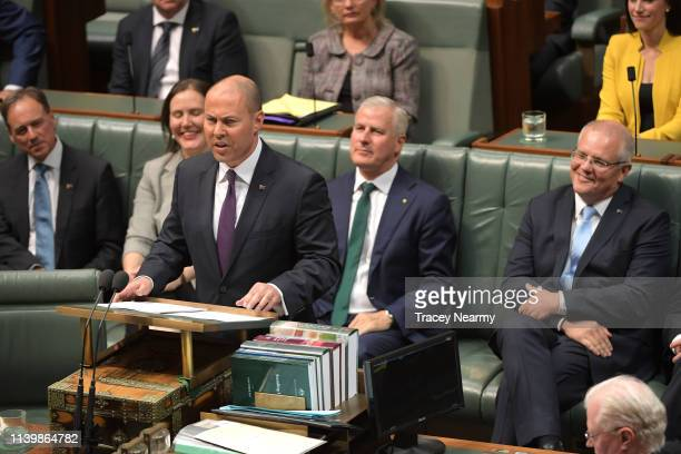 Treasurer Josh Frydenberg delivers the budget in the House of Representatives on April 02, 2019 in Canberra, Australia. The Morrison government's...