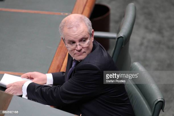 Treasurer Scott Morrison after delivering the budget in the House of Representatives on May 9 2017 in Canberra Australia The treasurer identified key...