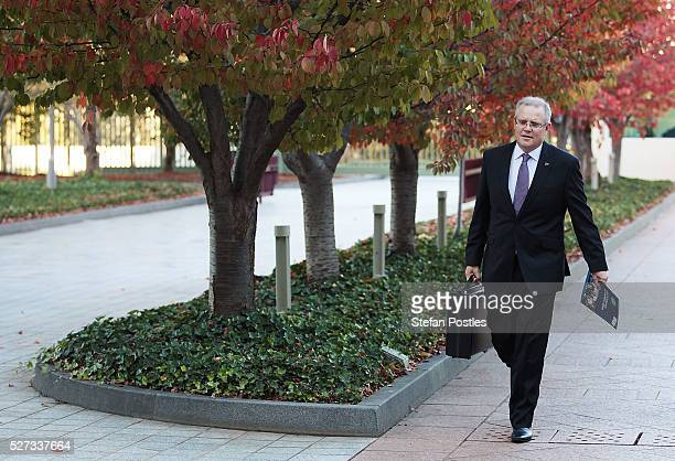 Treasurer Scott Morrison arrives at Parliament House on May 3 2016 in Canberra Australia The Coalition government will deliver the 2016 federal...