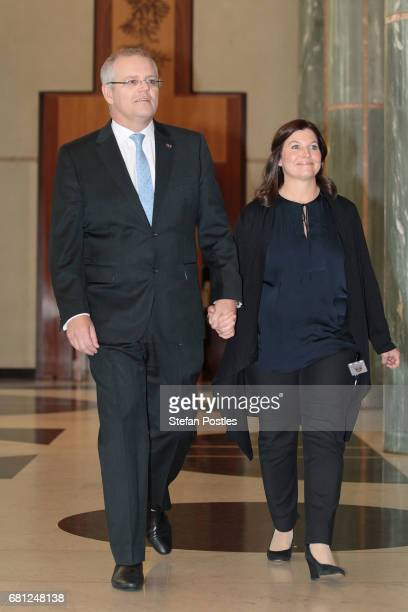 Treasurer Scott Morrison arrives with his wife Jenny Morrison to deliver his 2017 Post Budget Address at the Parliament House on May 10 2017 in...