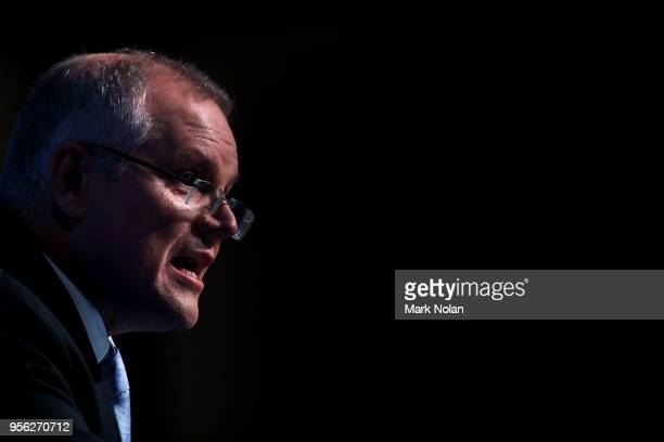 Treasurer Scott Morrison speaks to media representatives about the 2018 Budget Release at Parliament House on May 9 2018 in Canberra Australia The...