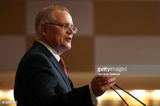 Treasurer Scott Morrison speaks to the Australian Business Economists forum at Westin Hotel on April 27 2017 in Sydney Australia The treasurer will...