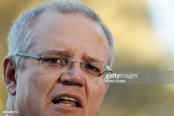 Treasurer Scott Morrison speaks to the media prior to the release of the 2017 Budget on May 9 2017 in Canberra Australia The treasurer will identify...