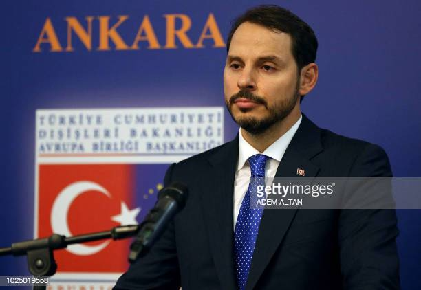 Treasury and Finance Minister Berat Albayrak looks on during a press conference after a Reform Action Group meeting held by the Presidency of the...