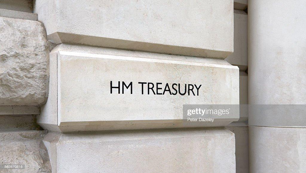 HM Treasury entrance : Stock Photo