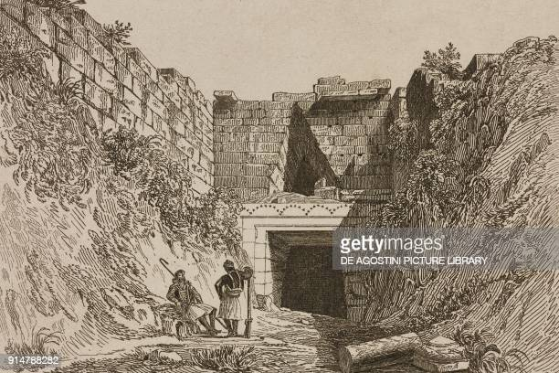 Treasury of Atreus or Tomb of Agamemnon Mycenae Greece engraving by Lemaitre from Grece by Francois Pouqueville L'Univers pittoresque Europe...