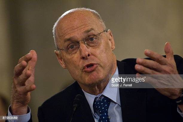 Treasury Secretary Henry M Paulson Jr during the Senate Banking hearing on turmoil in the capital markets and the prospective regulation of Fannie...