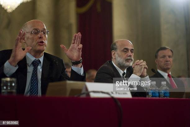 Treasury Secretary Henry M Paulson Jr Federal Reserve Chairman Ben S Bernanke and Securities and Exchange Commission Chairman Christopher Cox...