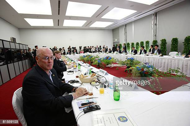 S Treasury Secretary Henry Paulson and delegates of the G8 Finance Ministers' Meeting attend the outreach breakfast meeting at Osaka International...