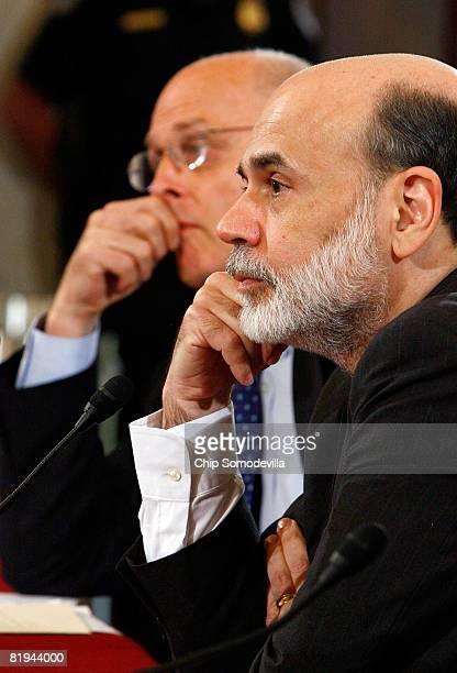 S Treasury Secretary Henry Paulson and Federal Reserve Board Chairman Ben Bernanke testify before the Senate Banking Housing and Urban Affairs...