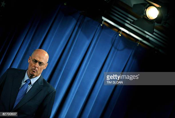 US Treasury Secretary Henry Paulson during a press conference on the bailout of mortgage giants Fannie Mae and Freddie Mac on September 7 2008 in...