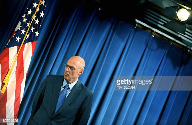 US Treasury Secretary Henry Paulson during a press conference with Federal Housing Finance Agency Director James Lockhart on the bailout of mortgage...