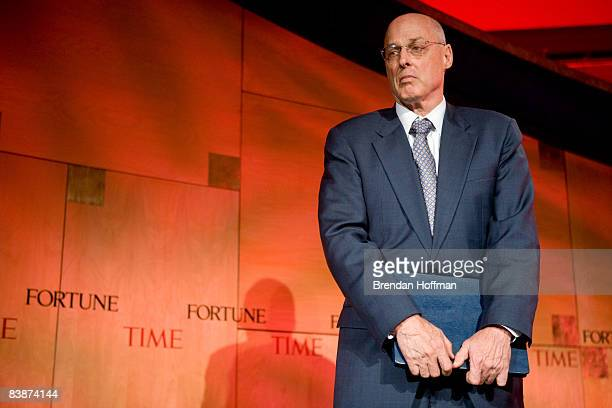 Treasury Secretary Henry Paulson is introduced before making remarks at the Fortune 500 Forum at The RitzCarlton Hotel on December 1 2008 in...