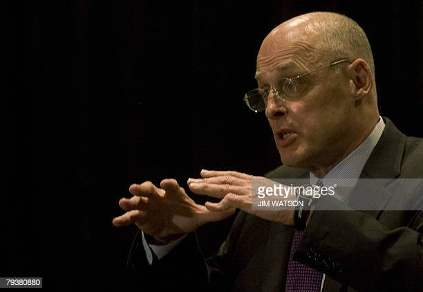 US Treasury Secretary Henry Paulson makes remarks on the state of the economy during the Real Estate Roundtable's State of the Industry Meeting in...