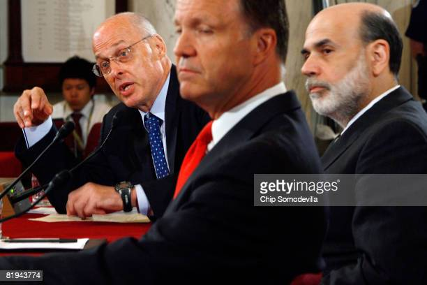US Treasury Secretary Henry Paulson Securities and Exchange Commission Chairman Christopher Cox and Federal Reserve Board Chairman Ben Bernanke...