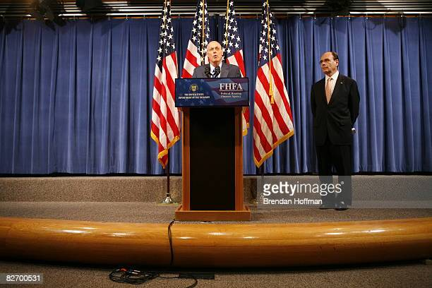 Treasury Secretary Henry Paulson speaks at a news conference announcing a federal takeover of Fannie Mae and Freddie Mac as Federal Housing Finance...