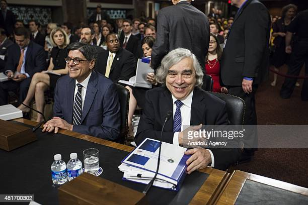 Treasury Secretary Jack Lew and Energy Secretary Ernest Moniz arrive for a Senate Foreign Relations Committee hearing on President Obamas nuclear...