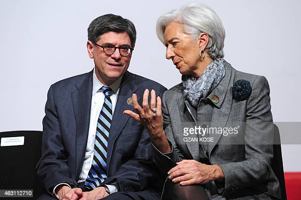 US Treasury Secretary Jack Lew talks with International Monetary Fund chief Christine Lagarde during the G20 Finance Ministers and Central Bank...