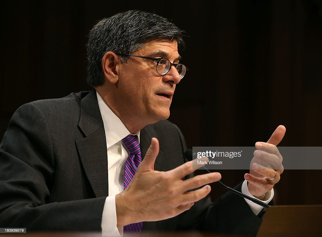 Treasury Secretary Jack Lew testifies during a Senate Finance Committee hearing on Capitol Hill, October 10, 2013 in Washington, DC. The committee is hearing testimony from Secretary Lew on the nation's debt limit.